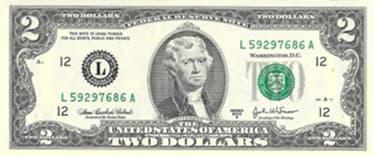 cédula 2 dólares