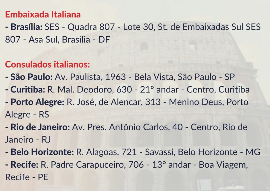 Endereços dos Consulados italianos no Brasil